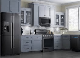 black stainless appliances